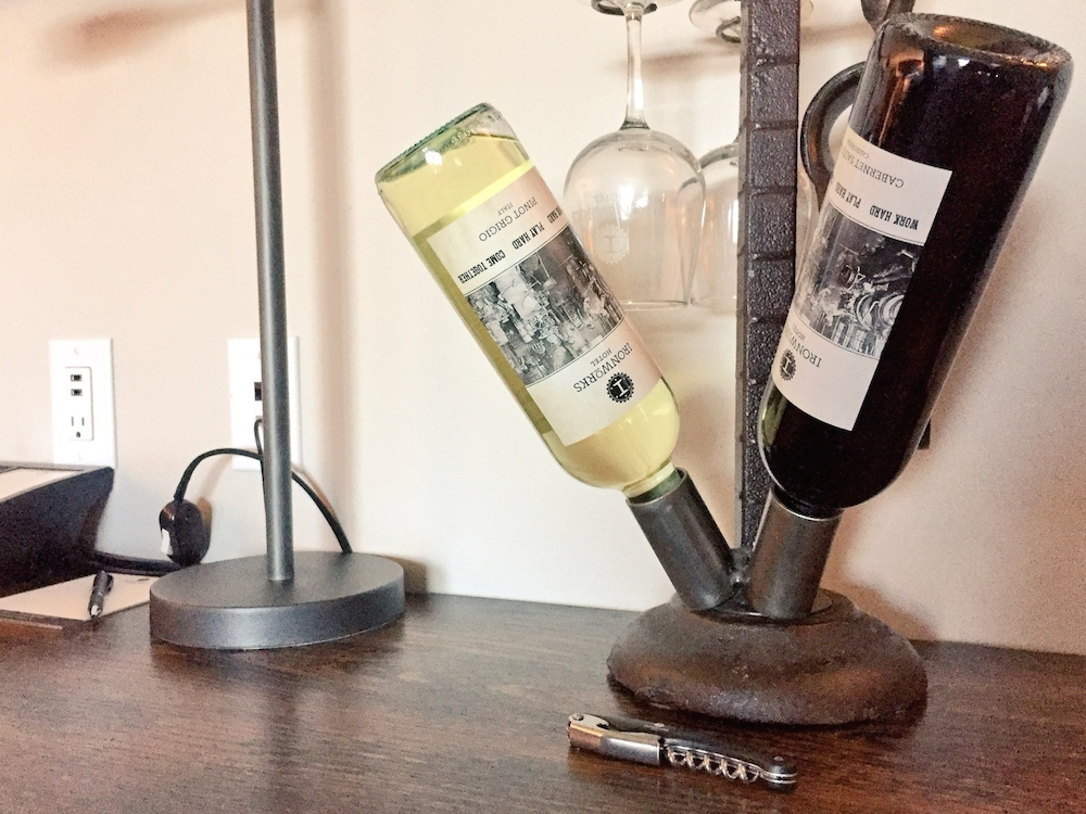 Themed wine bottles at Ironworks Hotel in Beloit, Wisconsin