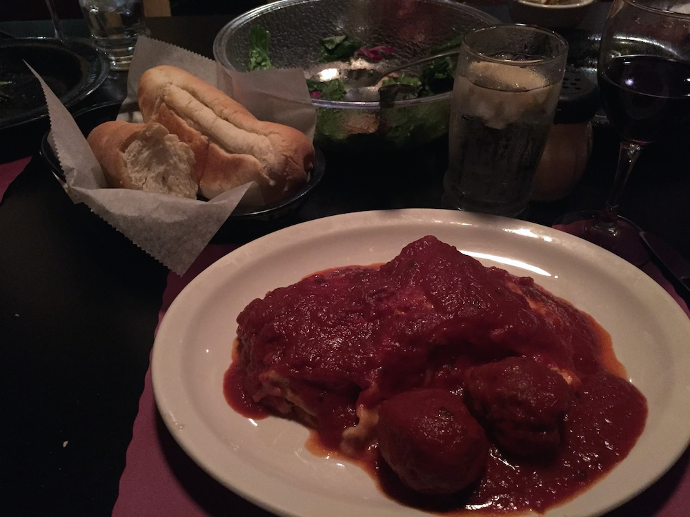 Baked lasagna and meatballs at Lino's in Rockford, Illinois