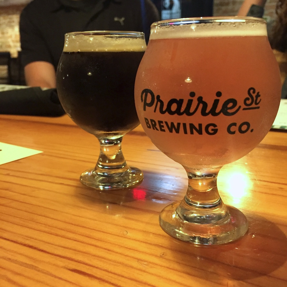 Beer samples at Prairie Street Brewing Company in Rockford, Illinois
