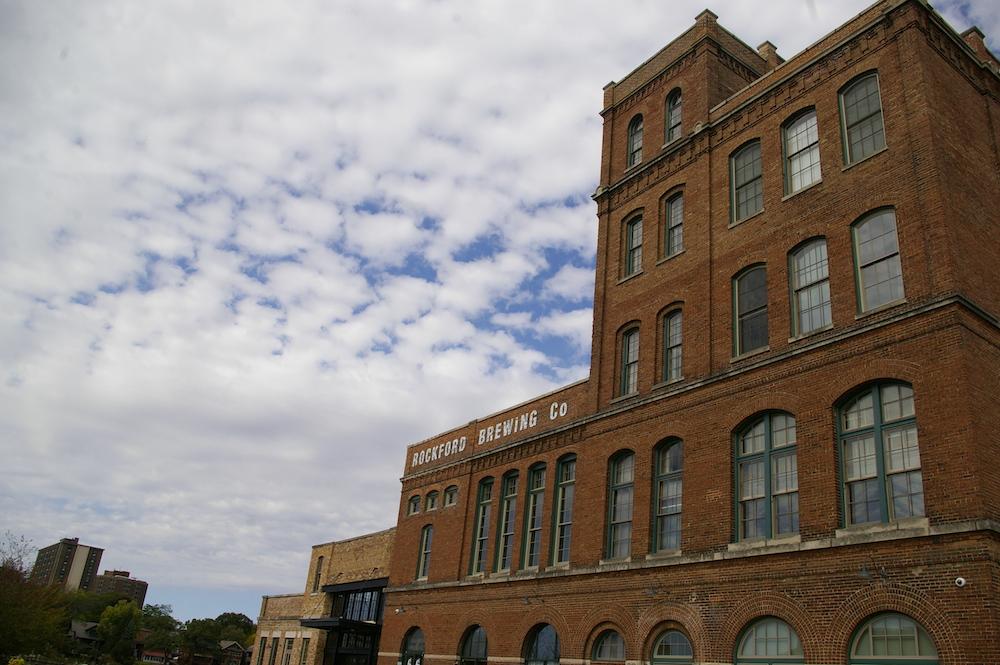 Brick exterior of Prairie Street Brewhouse building in Rockford, Illinois