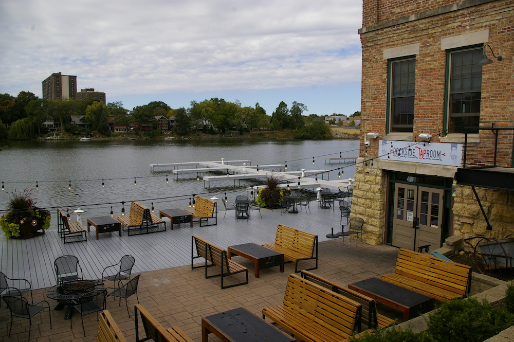 Dockside taproom at Prairie Street Brewhouse building in Rockford, Illinois