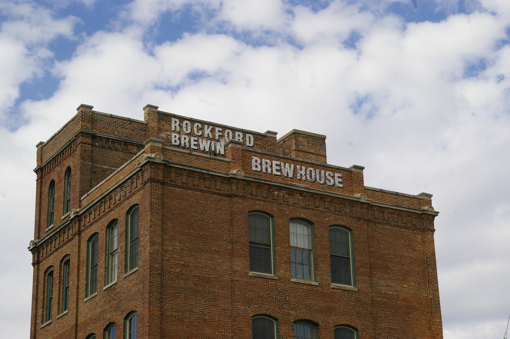 Brick exterior of Prairie Street Brewhouse building in Rockford, Illinois