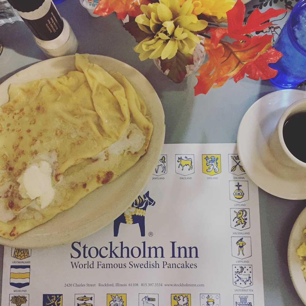 Swedish pancakes at Stockholm Inn in Rockford, Illinois