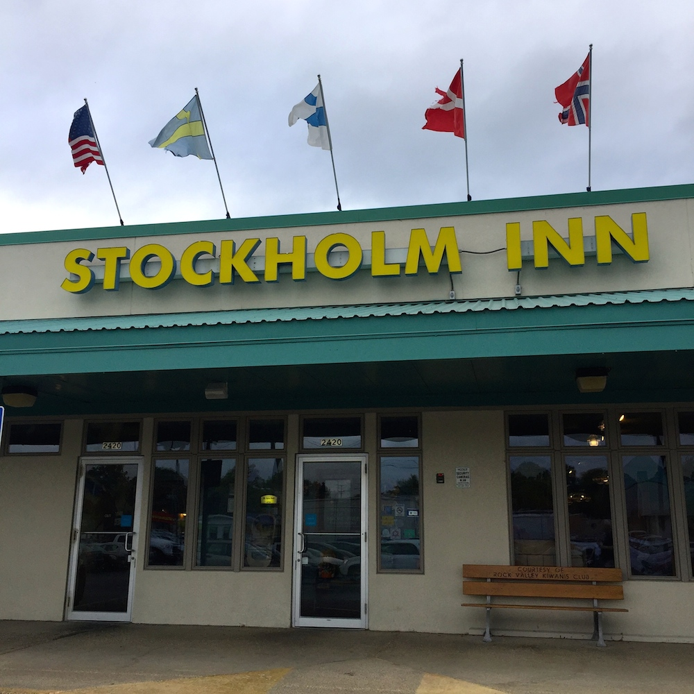 Exterior of Stockholm Inn in Rockford, Illinois