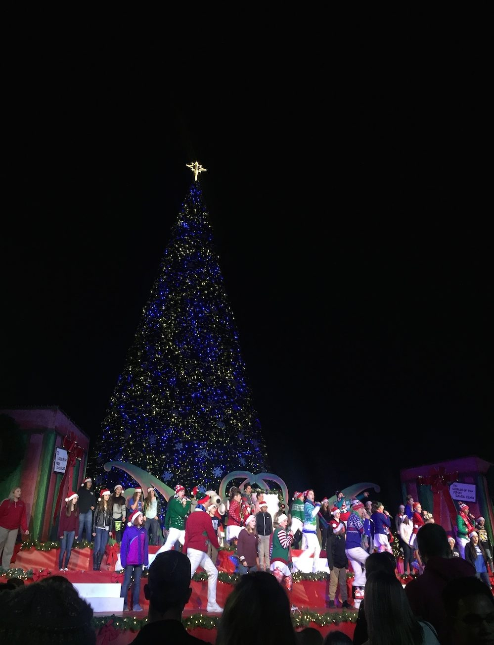 Official tree lighting ceremony at Worlds of Fun's WinterFest in Kansas City, Missouri