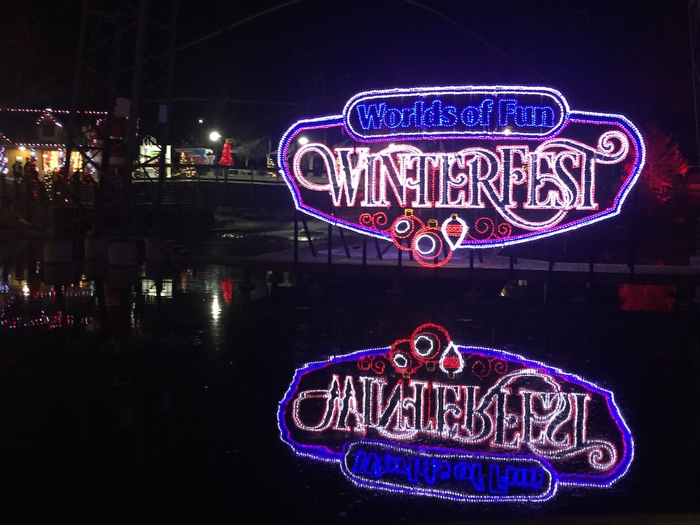 Lights reflecting in water at Worlds of Fun's WinterFest in Kansas City, Missouri