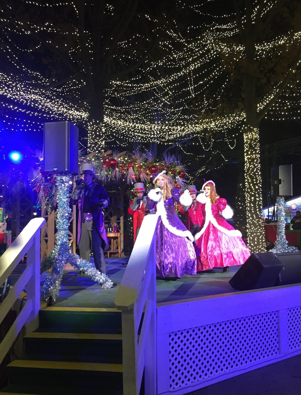 The Jingle Jazz ensemble performing at at Worlds of Fun's WinterFest in Kansas City, Missouri