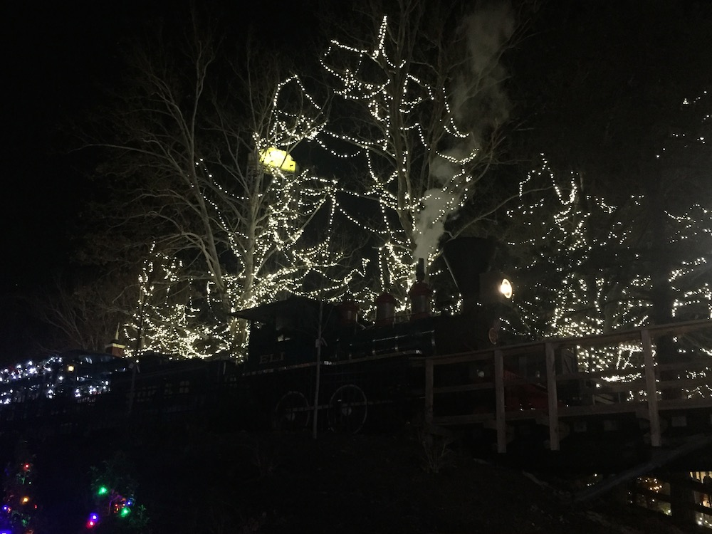 The Polar Express billowing smoke from below at Worlds of Fun's WinterFest in Kansas City, Missouri