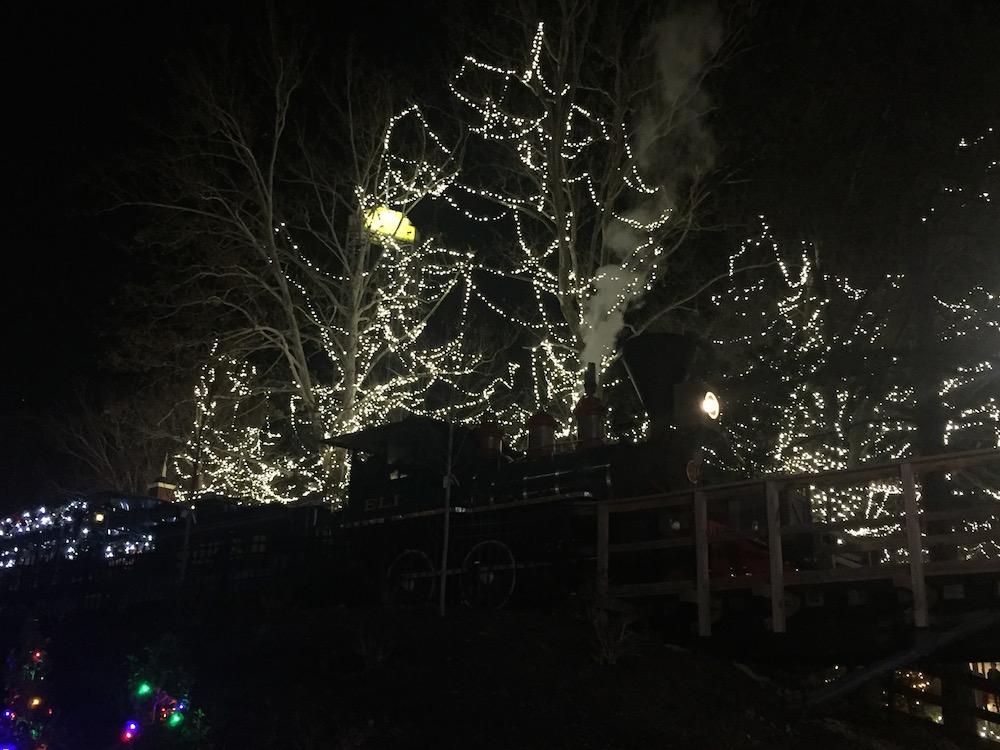 The Polar Express billowing smoke from below at Worlds of Fun's WinterFest in Kansas City, Missouri