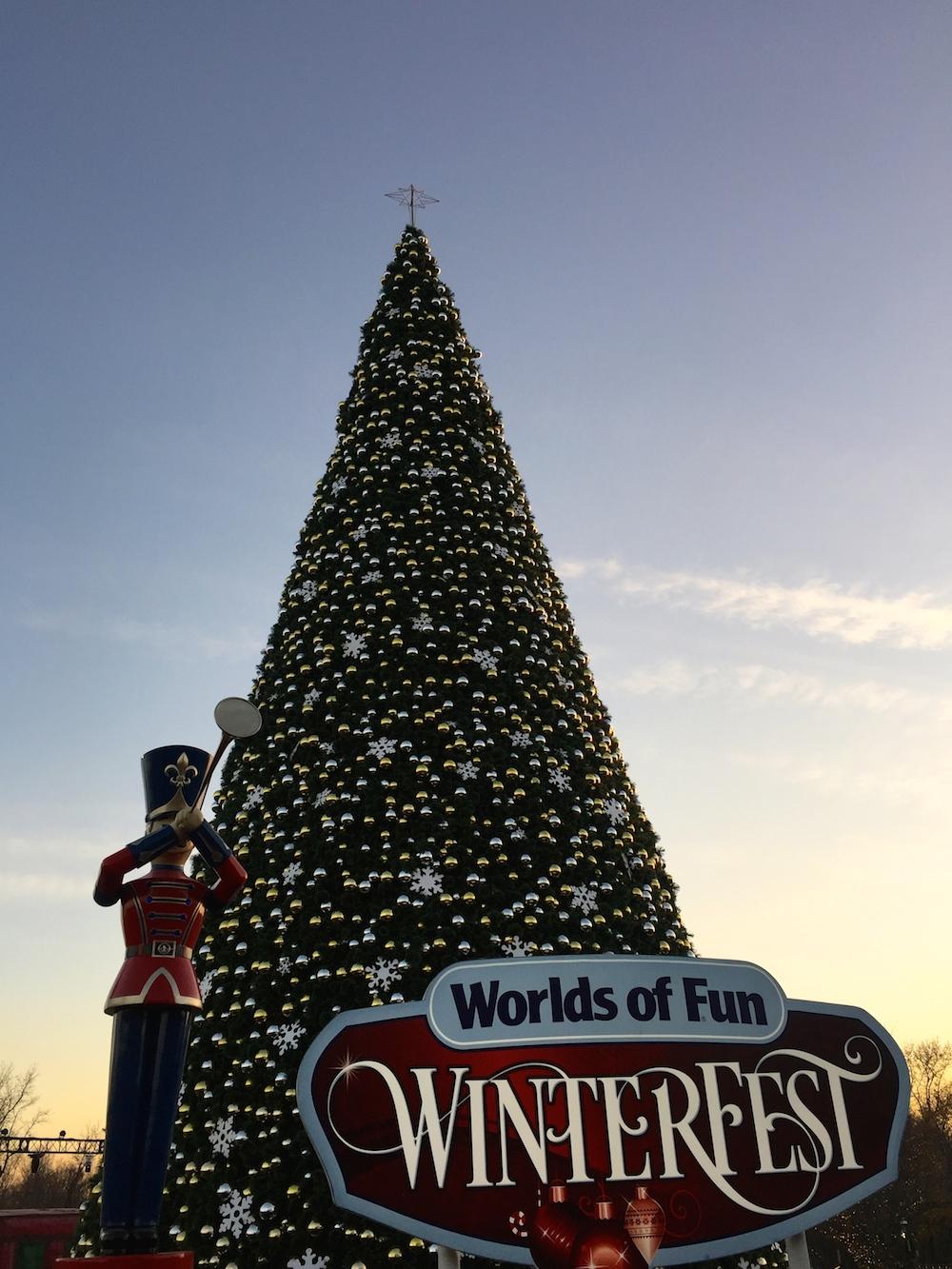 70-foot-tall tree at Worlds of Fun's WinterFest in Kansas City, Missouri