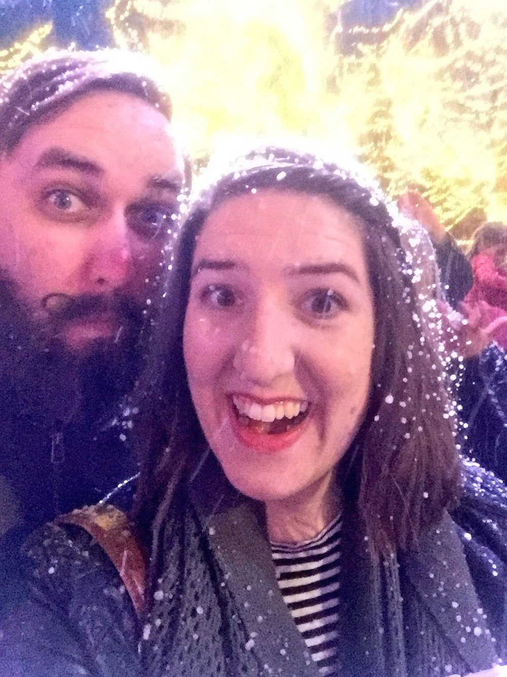 Excited about fake snow at Worlds of Fun's WinterFest in Kansas City, Missouri