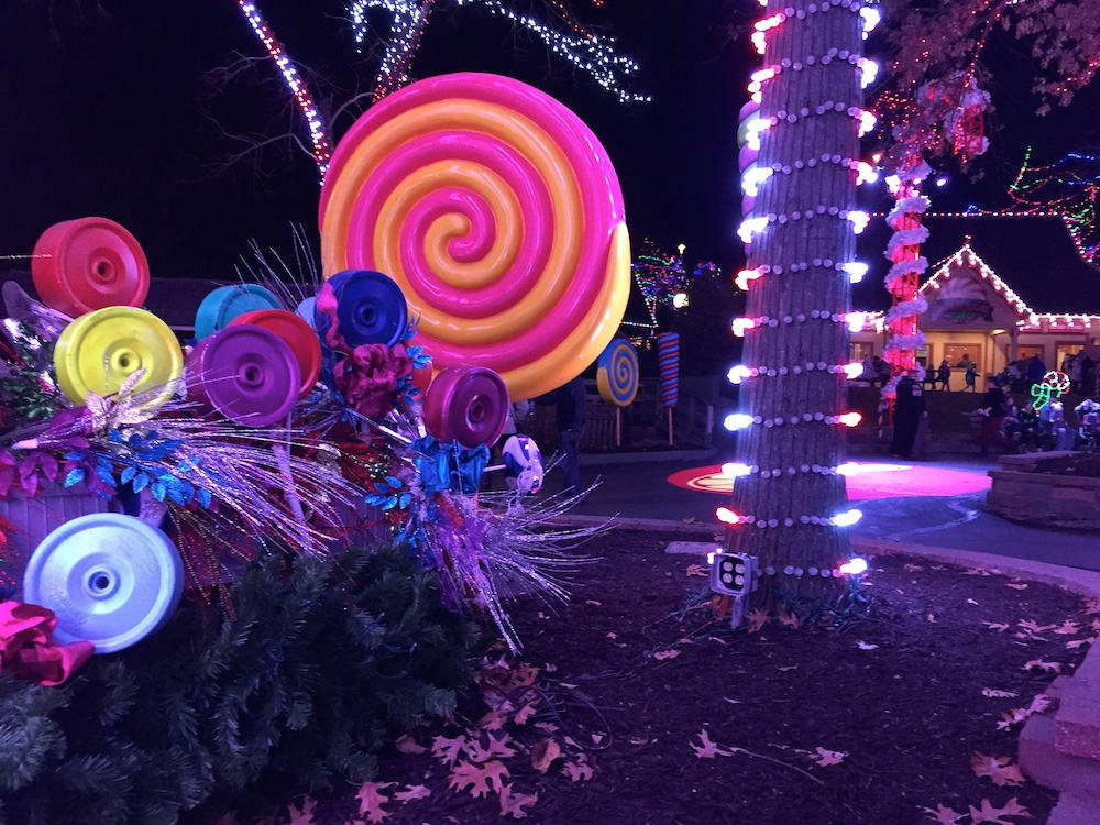 Fake lollipops and lights at Worlds of Fun's WinterFest in Kansas City, Missouri