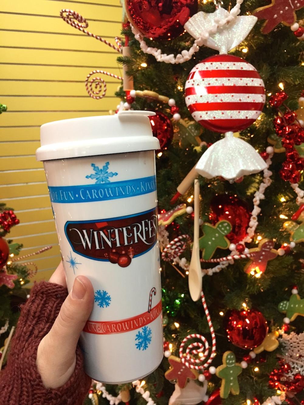 Souvenir hot chocolate mug at Worlds of Fun's WinterFest in Kansas City, Missouri
