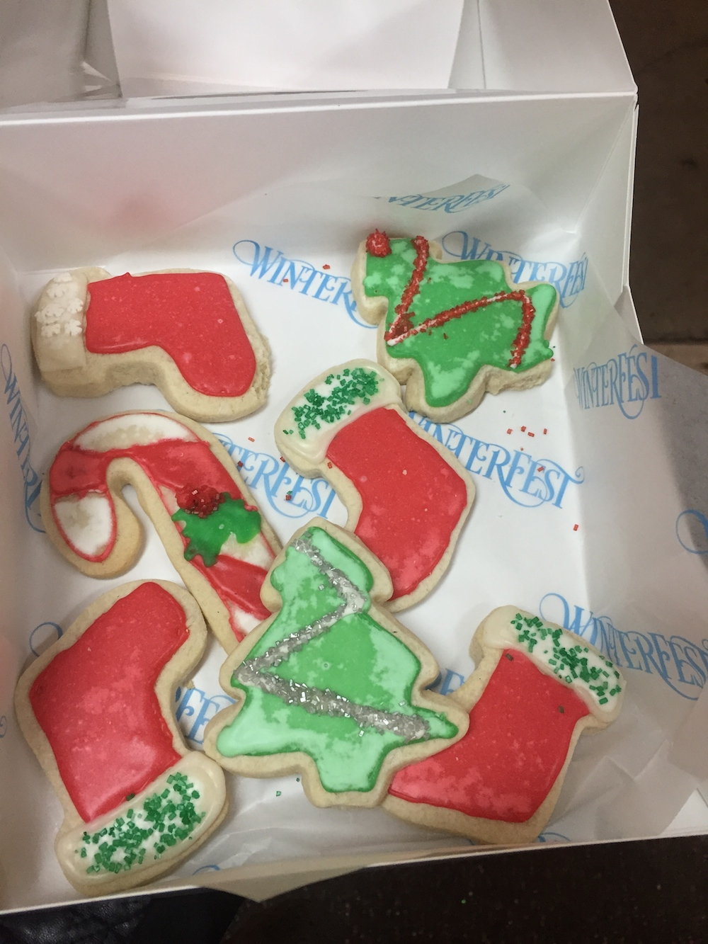 Decorated cookies from Mrs. Claus' Kitchen at Worlds of Fun's WinterFest in Kansas City, Missouri