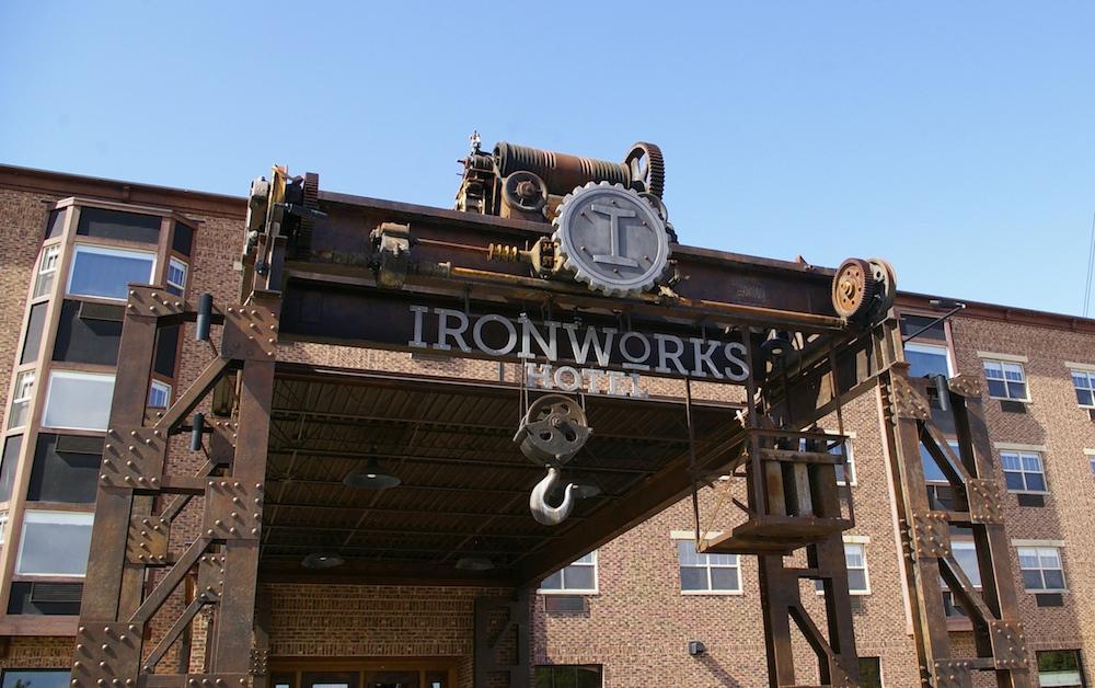 Exterior of the ironworks Hotel in Beloit, Wisconsin