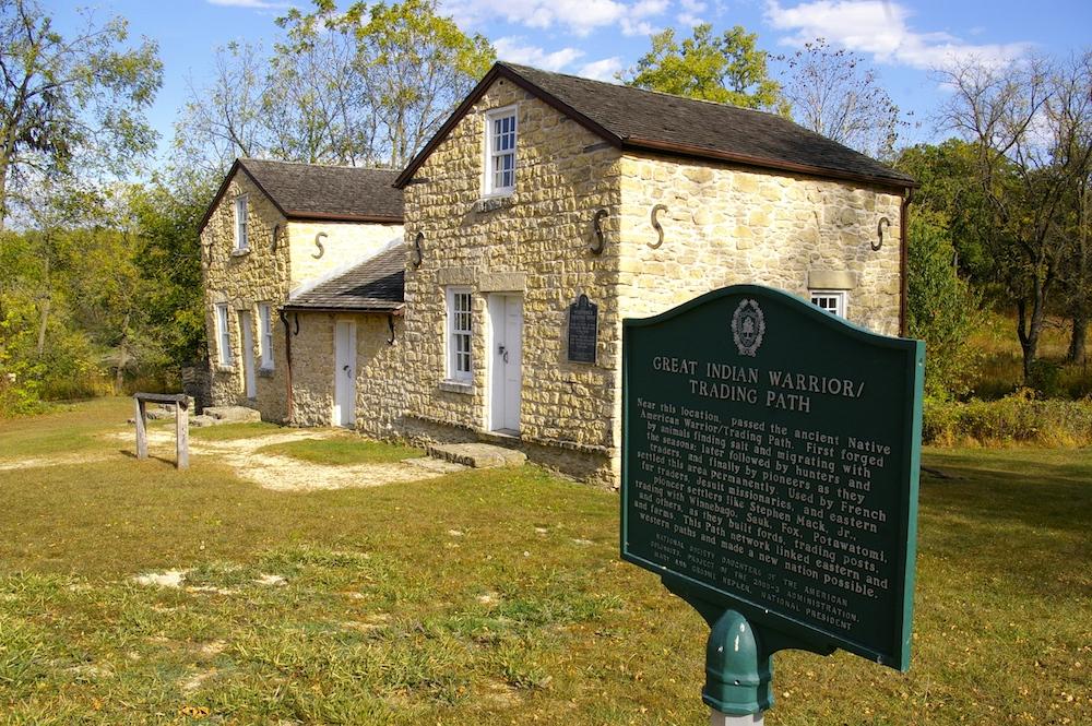 Limestone exterior of Whitman Trading Post in the historic Macktown settlement in Rockton, Illinois
