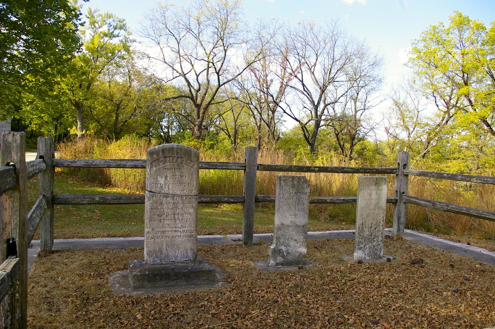 Gravestones of the Mack family in the Macktown historic district in Rockton, Illinois