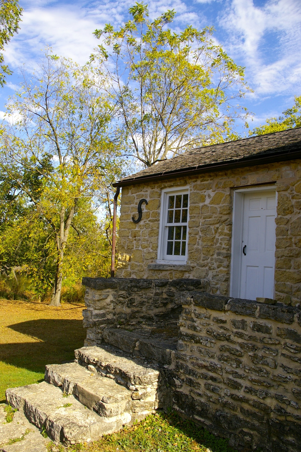 Limestone exterior of Whitman Trading Post in the historic Macktown settlement in Rockton, Illinois