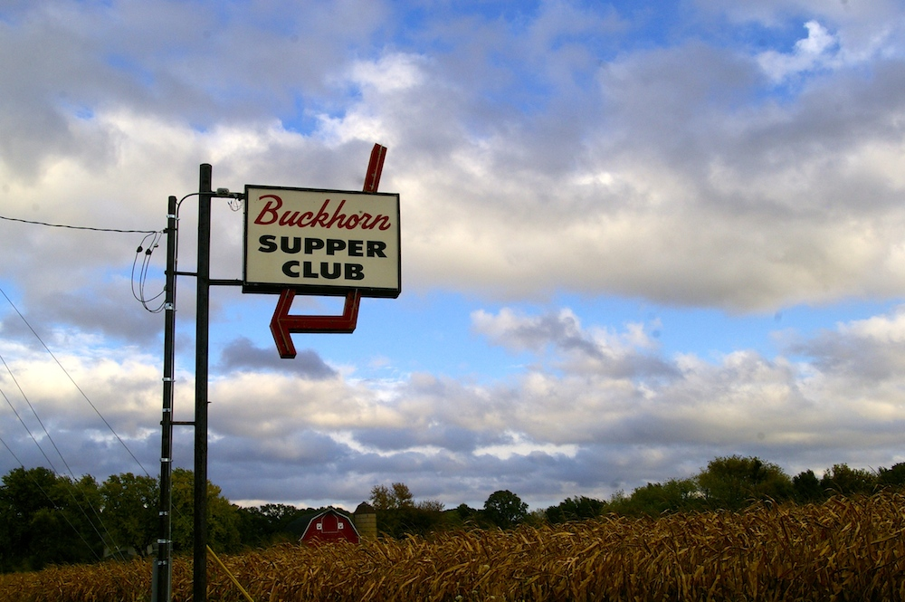 Buckhorn Supper Club sign in a cornfield near Milton, Wisconsin