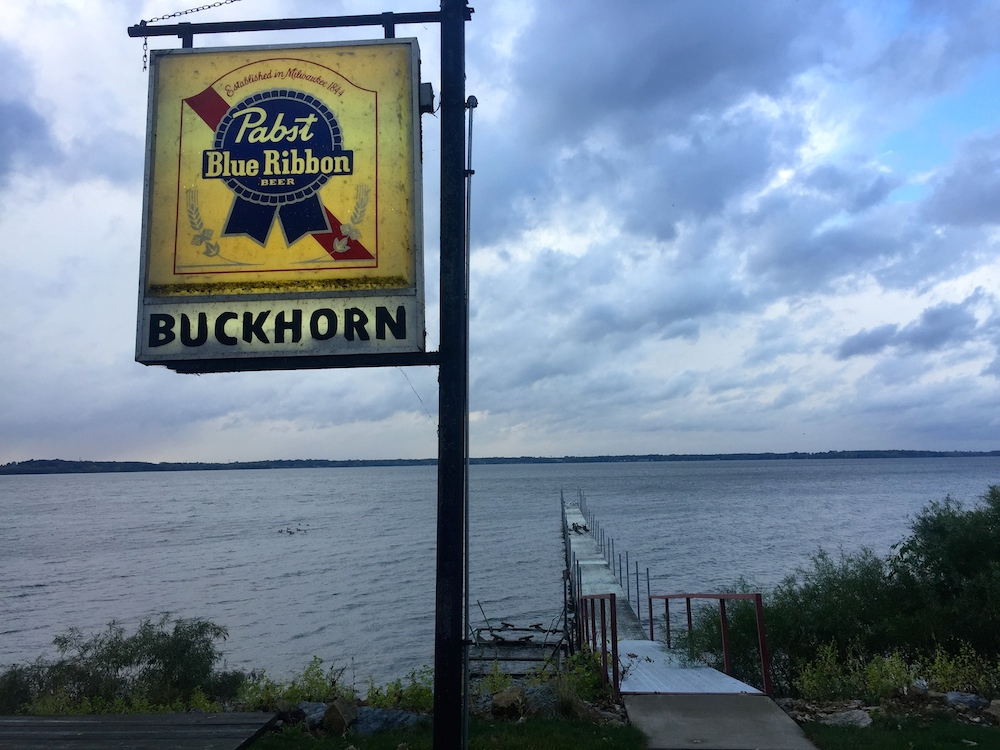 Lighted Pabst Blue Ribbon sign at the Buckhorn Supper Club dock on Lake Koshkonong near Milton, Wisconsin