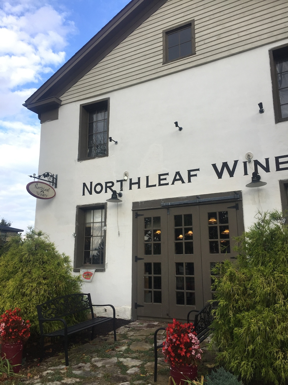 Exterior of Northleaf Winery housed in a historic barn in Milton, Wisconsin