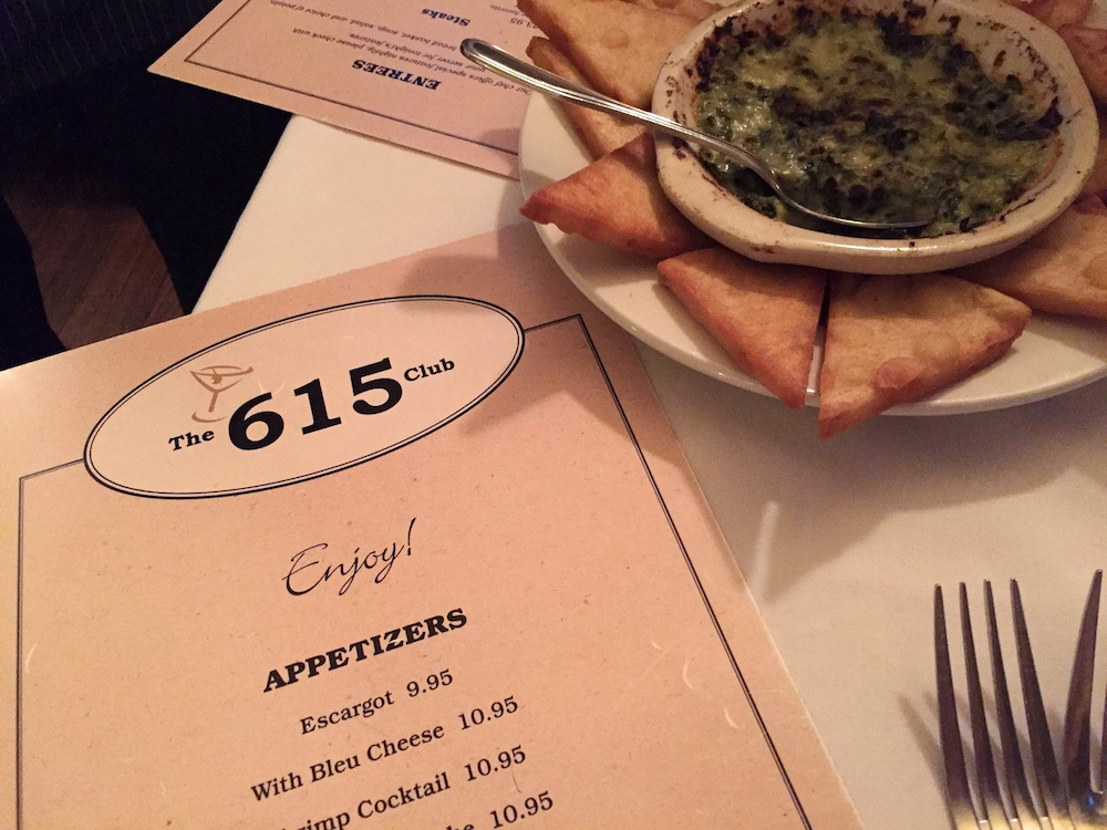 The 615 Club menu and spinach artichoke dip at The 615 Club in Beloit, Wisconsin