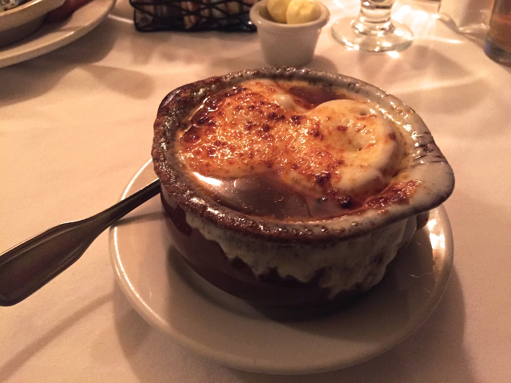 Baked French onion soup at The 615 Club in Beloit, Wisconsin