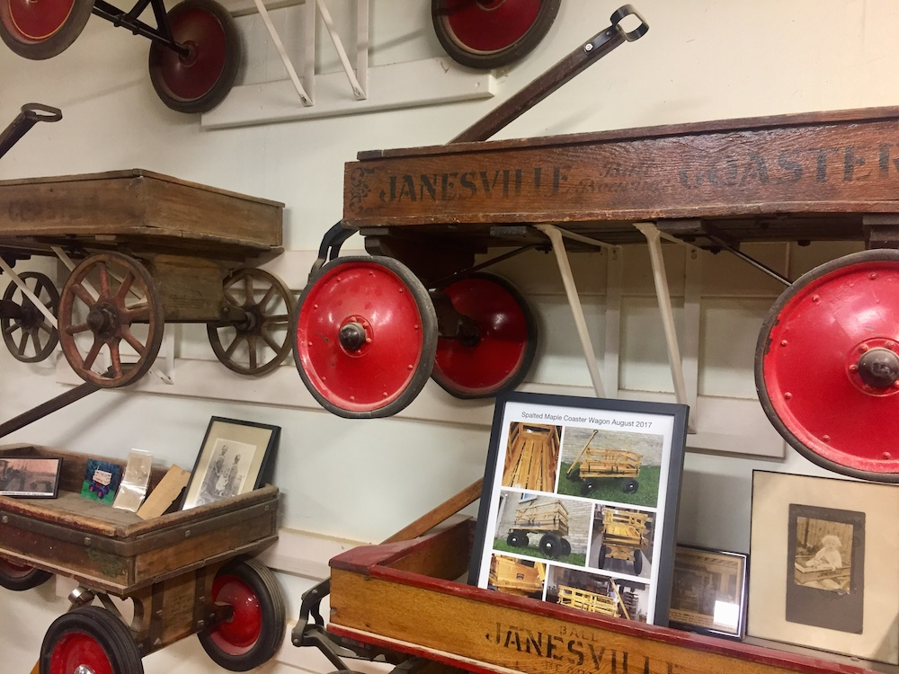 Display of different models of the Janesville Coaster Wagon at the Wisconsin Wagon Company in Janesville, Wisconsin