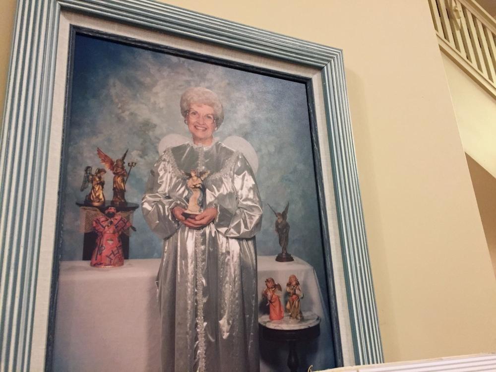 Portrait of founder Joyce Berg dressed as an angel at the Angel Museum in Beloit, Wisconsin