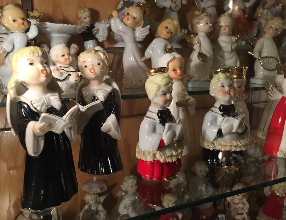 Ceramic figurines of angels singing at the Angel Museum in Beloit, Wisconsin