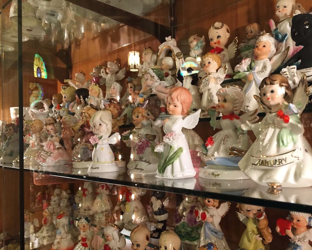 Ceramic figurines of birthday month themed angels at the Angel Museum in Beloit, Wisconsin