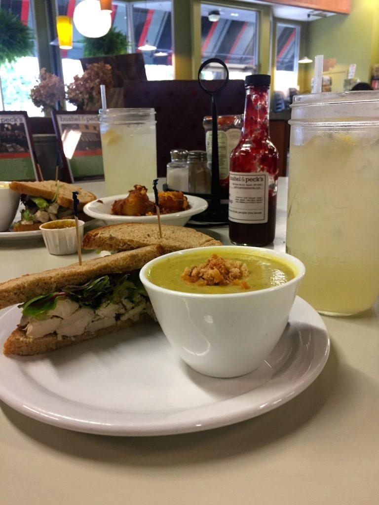 Chicken salad sandwich and soup at Bushel & Peck's in Beloit, Wisconsin