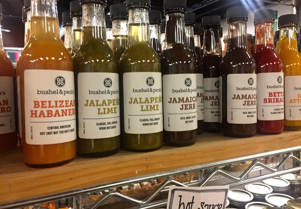 Different flavors of hot sauce at Bushel & Peck's in Beloit, Wisconsin