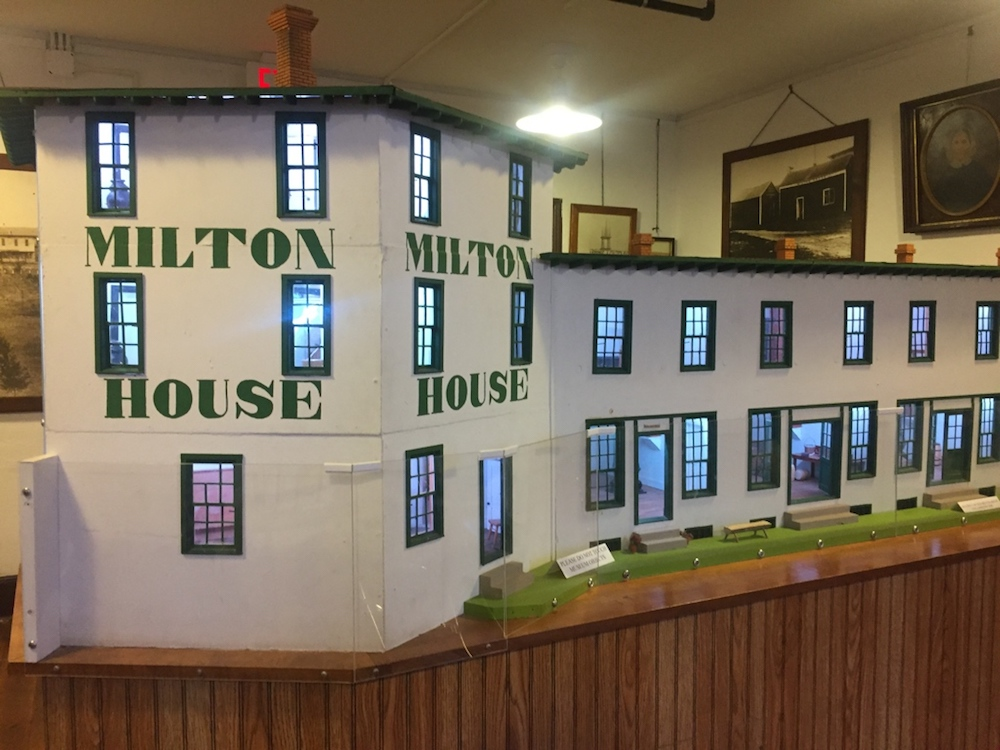 Dollhouse-sized replica of the Milton House hotel near Janesville, Wisconsin