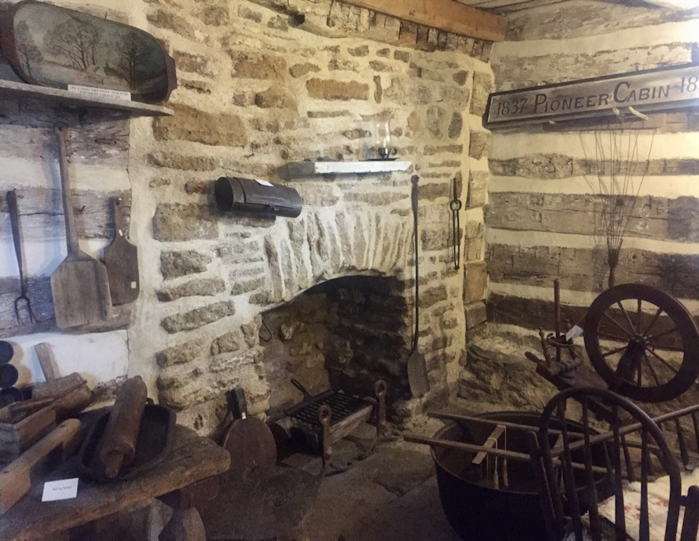 Interior of historic 1837 log cabin outside of the Milton House Museum near Janesville, Wisconsin
