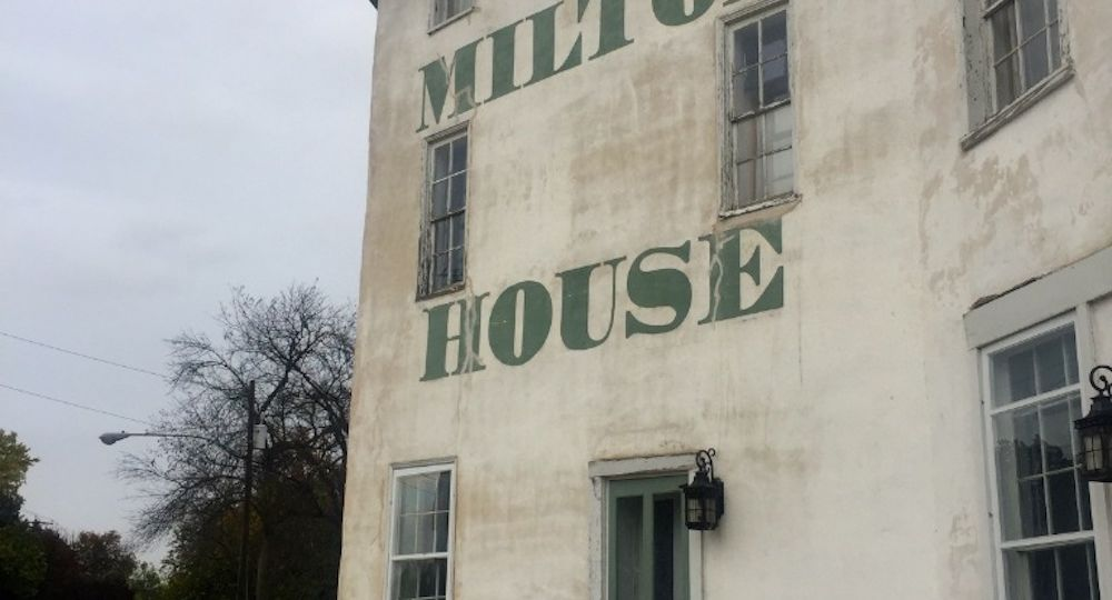 White exterior of the Milton House Museum near Janesville, Wisconsin