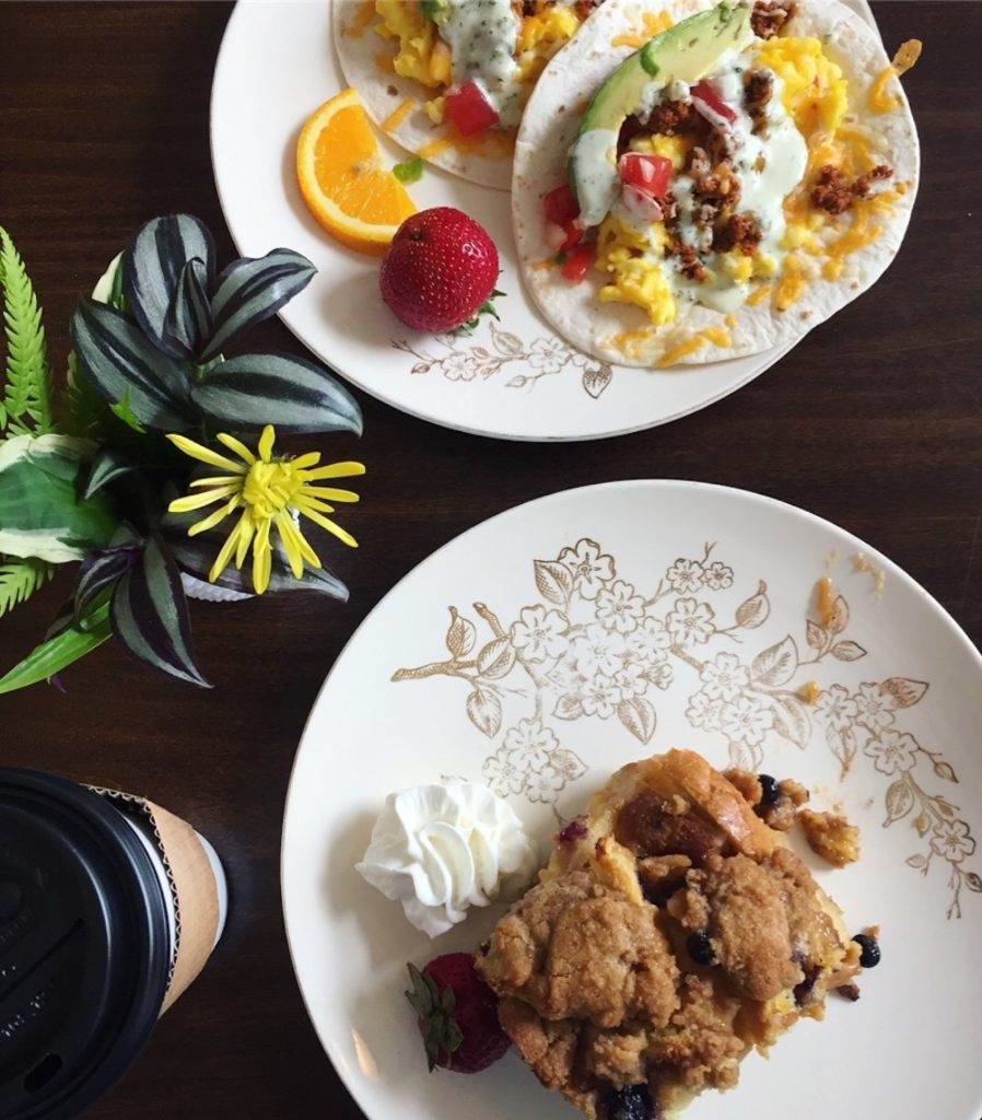 Baked blueberry French toast and breakfast tacos from The Vault in Gilbert, Iowa