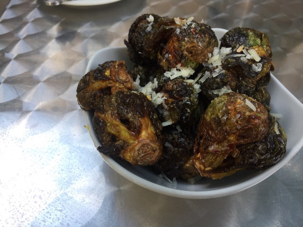 Fried Brussel sprouts topped with Parmesan cheese at Bros Brasserie in Sioux Falls, South Dakota