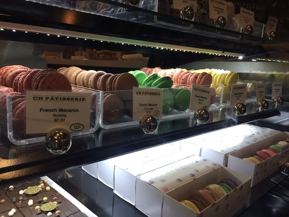 Display case full of French macarons at CH Patisserie in downtown Sioux Falls, South Dakota