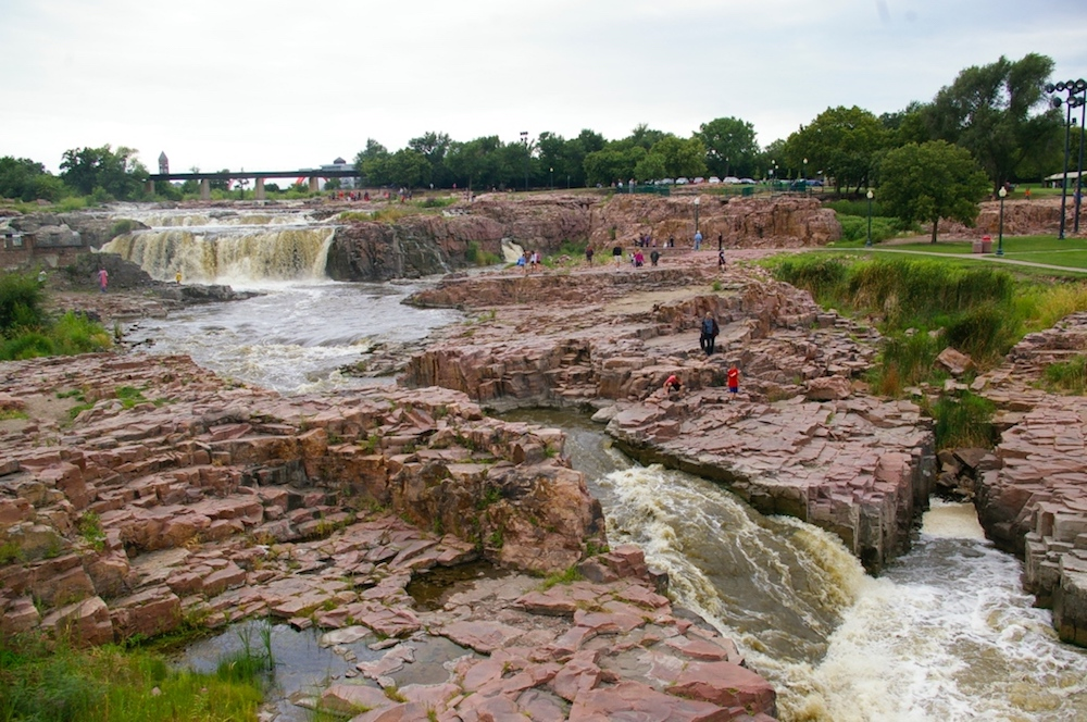 Water streaming through the falls at Falls Park in Sioux Falls, South Dakota