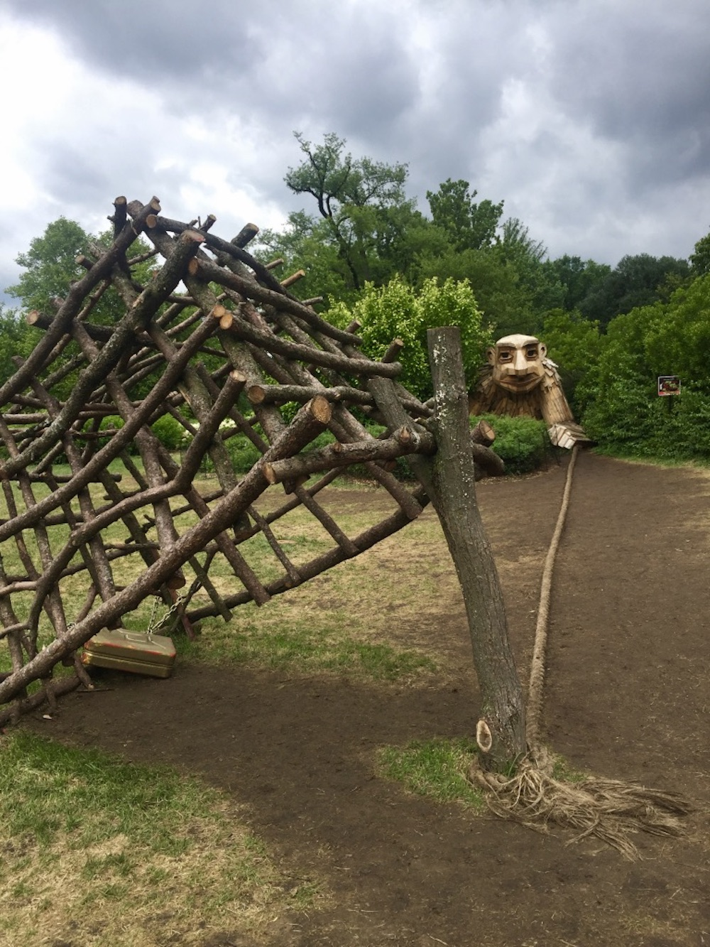 Giant wooden troll with a trap at the Morton Arboretum Troll Hunt in Lisle, Illinois