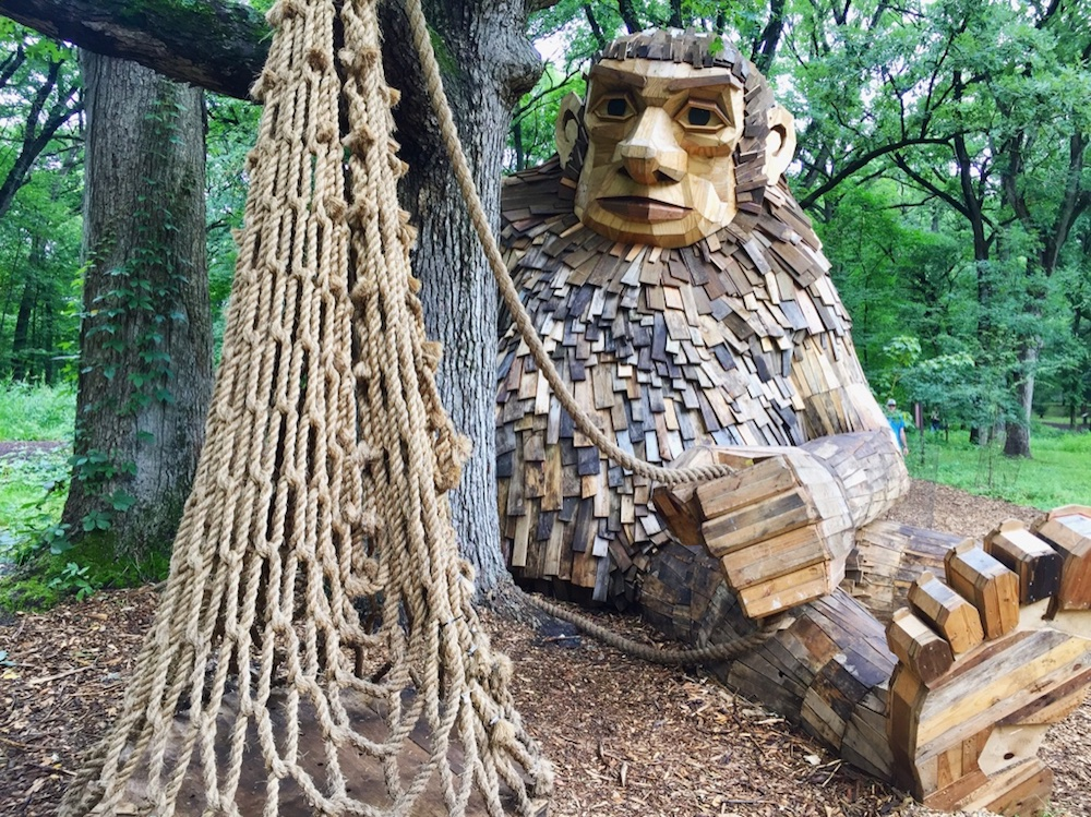 Giant wooden troll with a net at the Morton Arboretum Troll Hunt in Lisle, Illinois