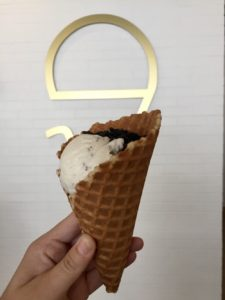 Ice cream cone with edible charcoal at Parlour Ice Cream in Sioux Falls, South Dakota