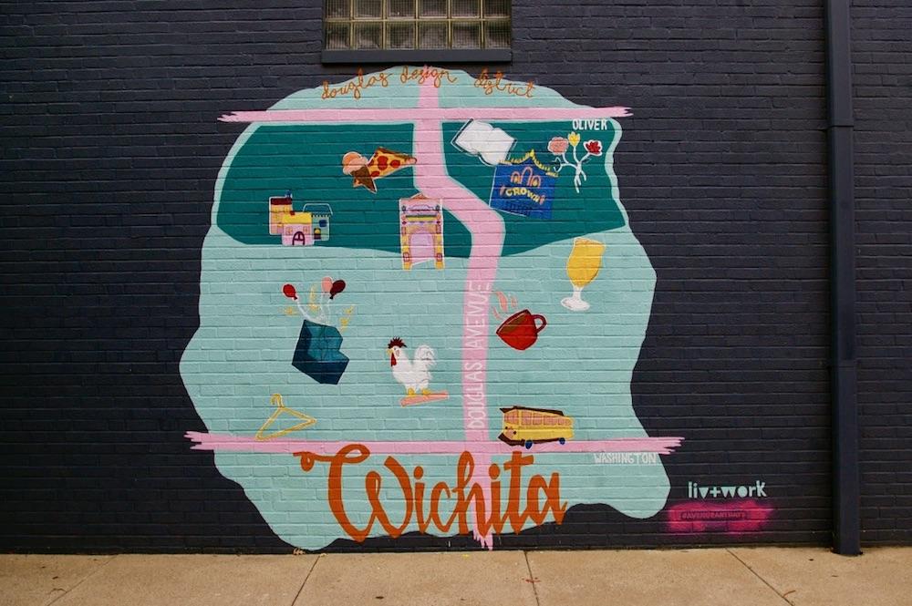Map of downtown Wichita as a mural in the Douglas Design District in downtown Wichita, Kansas