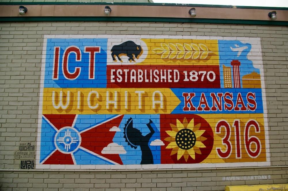 Wichita inspired mural in the Douglas Design District in downtown Wichita, Kansas