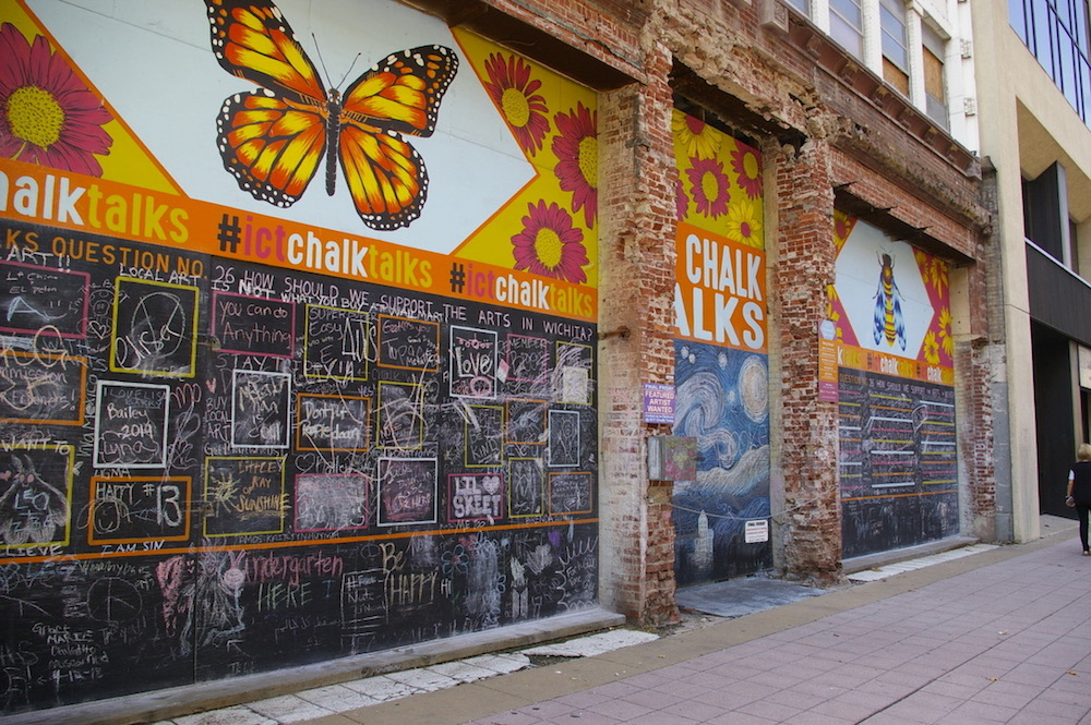 Chalk wall with painted butterfly at the ICT Pop-Up Urban Park in downtown Wichita, Kansas