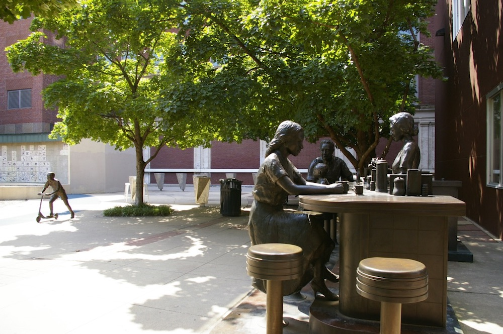 Bronze statue of people at a lunch counter in downtown Wichita, Kansas