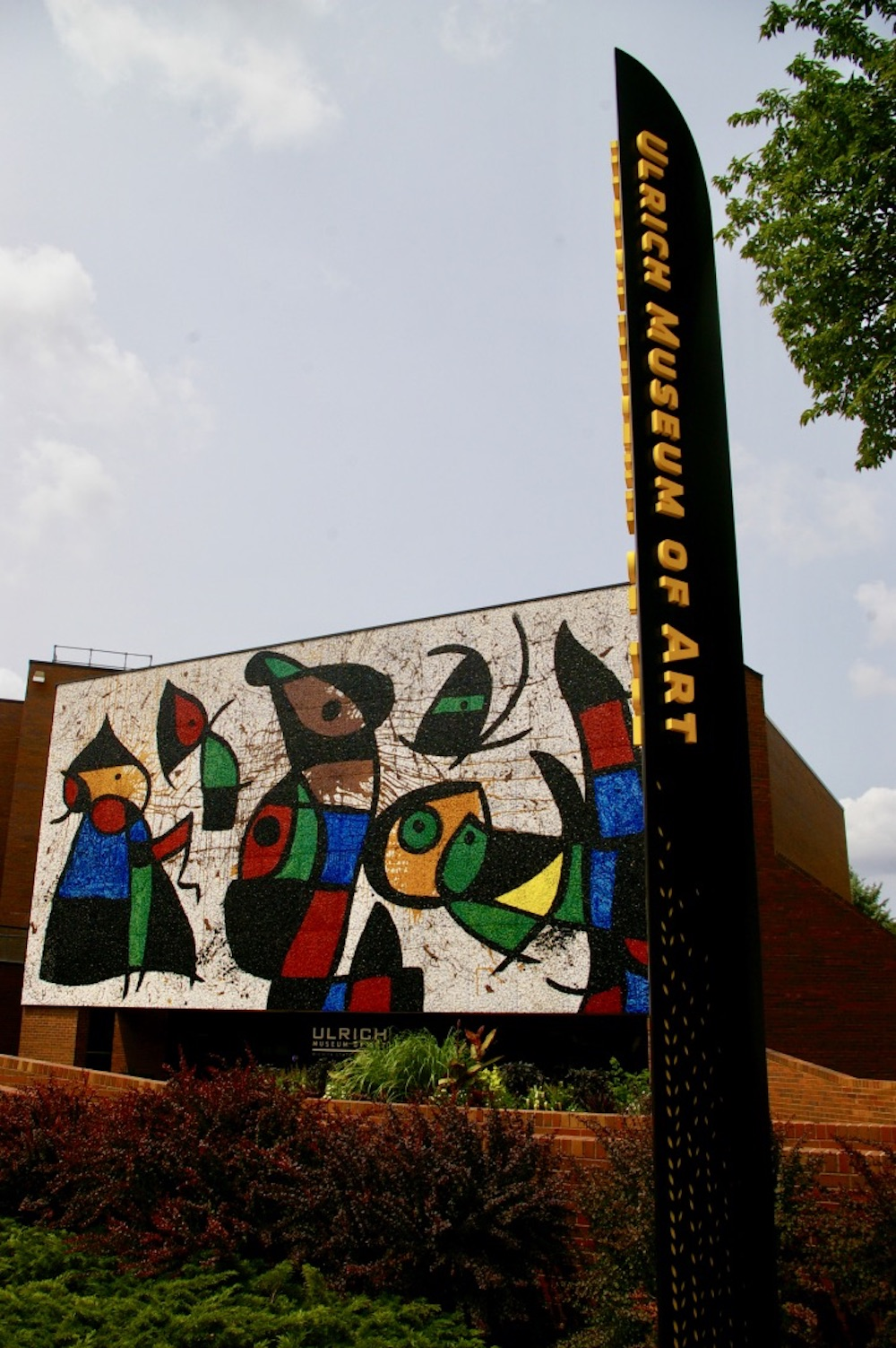 Exterior of the Ulrich Museum of Art with a large mosaic mural on the Wichita State campus in Wichita, Kansas