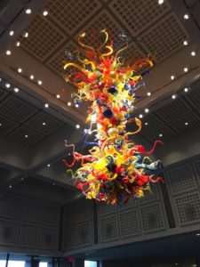 Colorful glass chandelier made by artist Dale Chihuly at the Wichita Art Museum in Wichita, Kansas