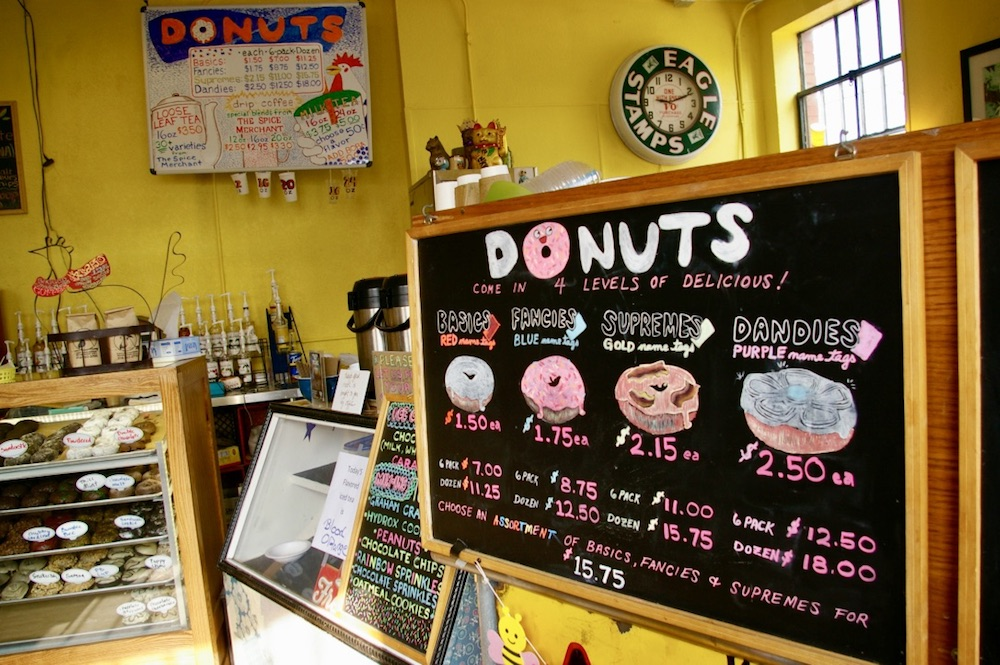 Handwritten sign of types of donuts at The Donut Whole in Wichita, Kansas